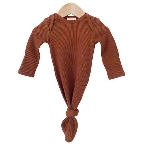 Organic Waffle Knotted Gown, Caramel
