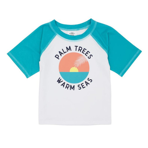 Short Sleeve Rash Top, Palm Trees Warm Seas