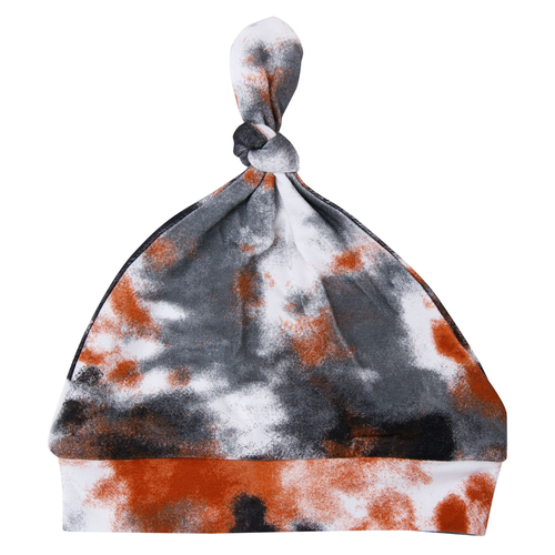 Knotted Beanie, Crinkle Tie Dye Grey