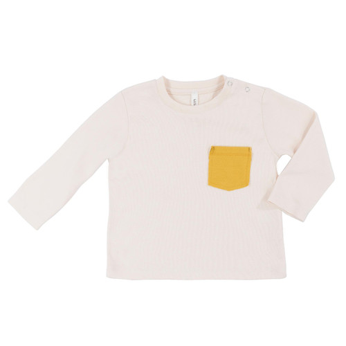 Long Sleeve Pocket Tee, Natural Mustard