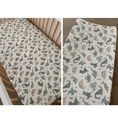 Muslin Crib Sheet & Changing Pad Cover Set, Dino