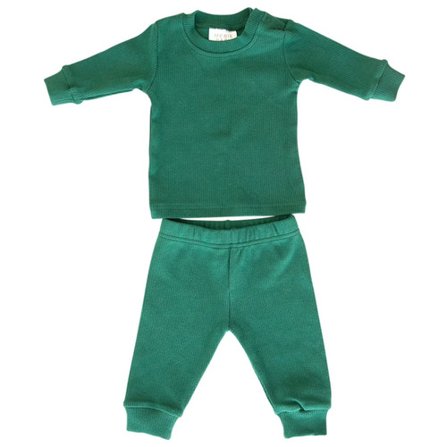 Holiday Ribbed Two Piece Set, Forest