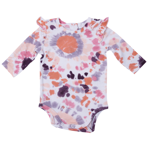 Long Sleeve Ruffle Bodysuit, Purple Haze Ray Tie Dye
