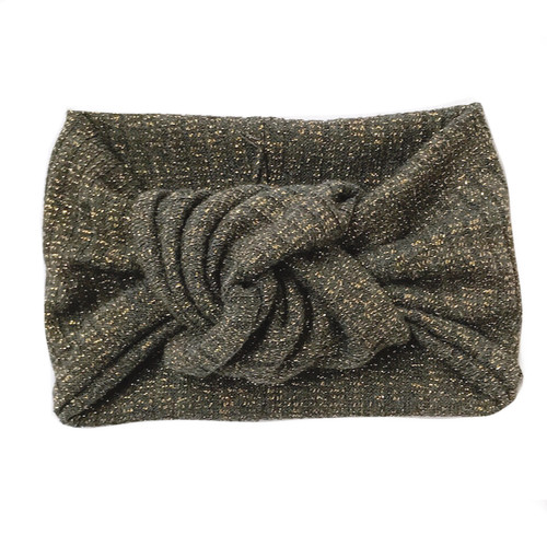 Twist Knot Headband, Charcoal/Gold Shimmer