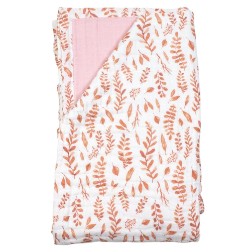 Super Snuggle Blanket, Pink Leaves/Cotton Candy