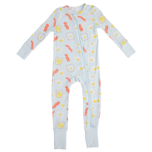 Zip Romper, Bacon & Eggs Blue