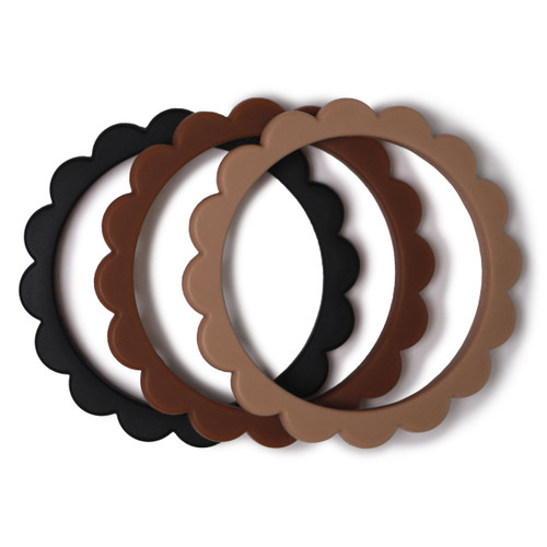 Flower Teething Bracelet 3-Pack, Black/Natural/Caramel