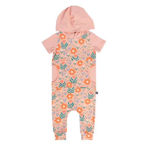 Short Sleeve Hooded Pocket Rag, Coral Floral