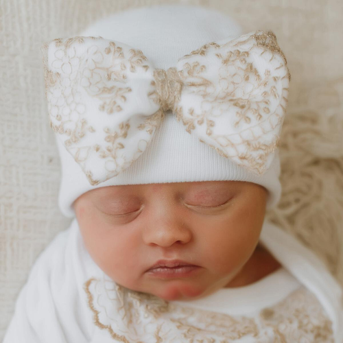 Newborn Bow Hat, Gold Lace