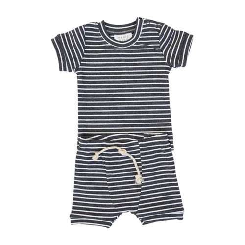 Ribbed Two Piece Short Set, Charcoal Stripe