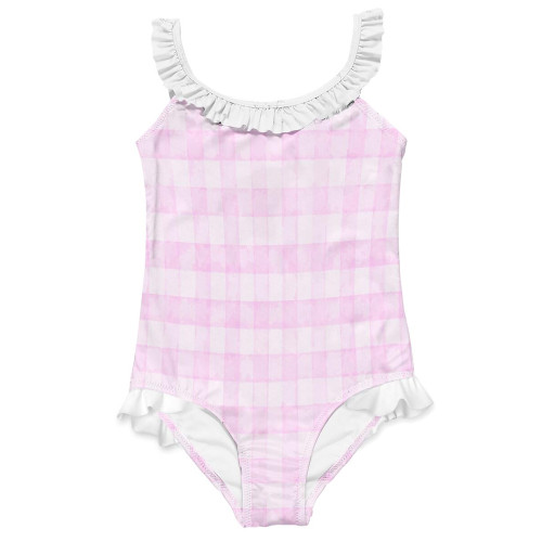 Pink Check Ruffle One Piece Swim Suit
