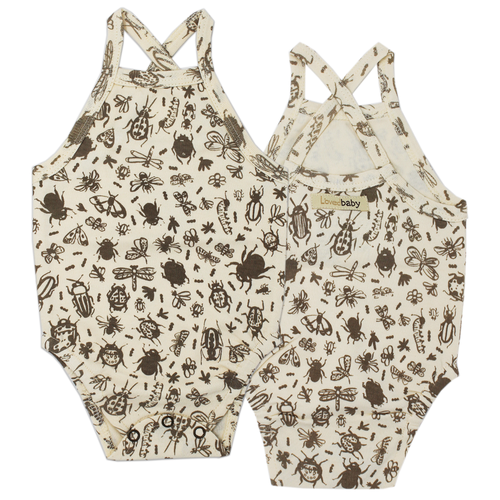 Organic Criss Cross Bodysuit, Don't Bug Me! Beige