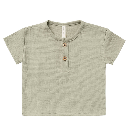 Woven Henry Top, Sage