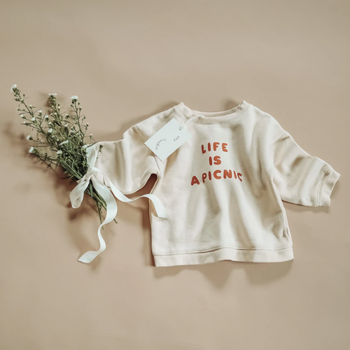 Organic French Terry Sweatshirt, Life Is A Picnic