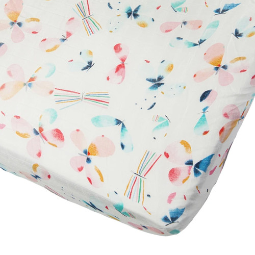 Muslin Fitted Crib Sheet, Butterfly