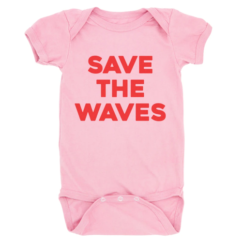 Graphic Bodysuit, Save The Waves Pink