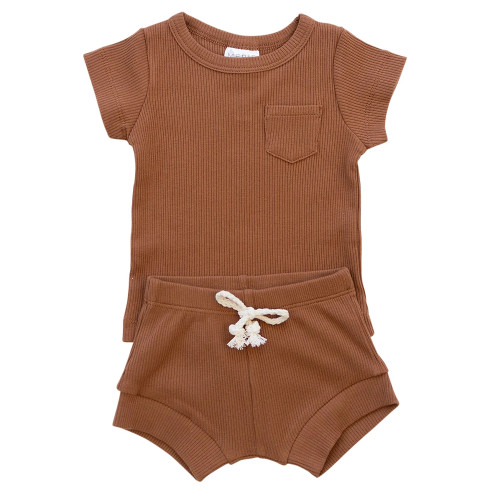 Ribbed Two Piece Shorts Set, Rust