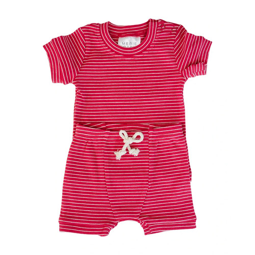 Ribbed Two Piece Short Set, Red & White Stripe