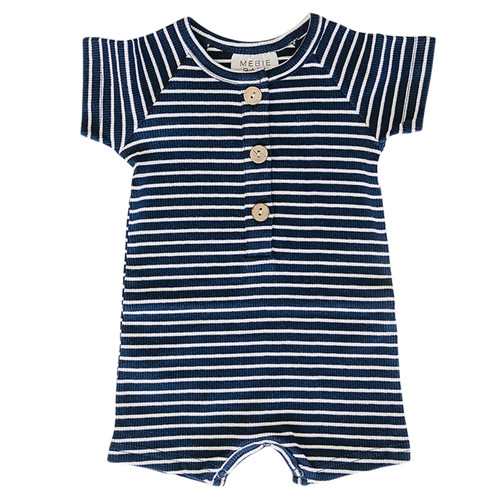Ribbed Button Shorts Romper, Navy Stripe