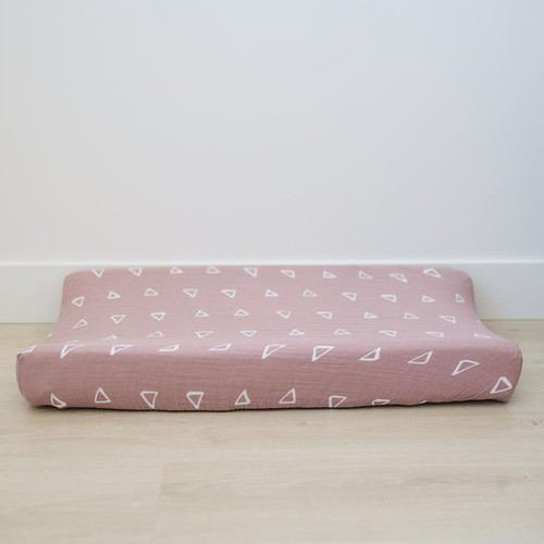 Muslin Changing Pad Cover, Blush Triangle