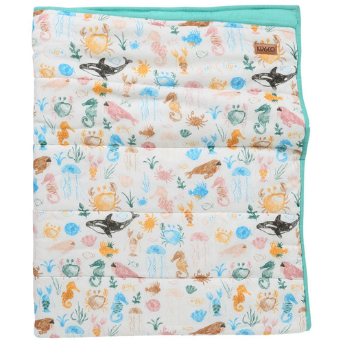 Quilted Cot Bedspread, Sea Bed