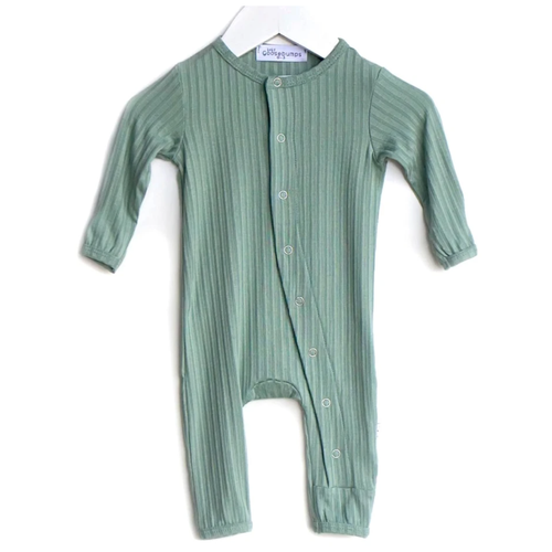 One Piece Ribbed Snap Romper, Sage Green