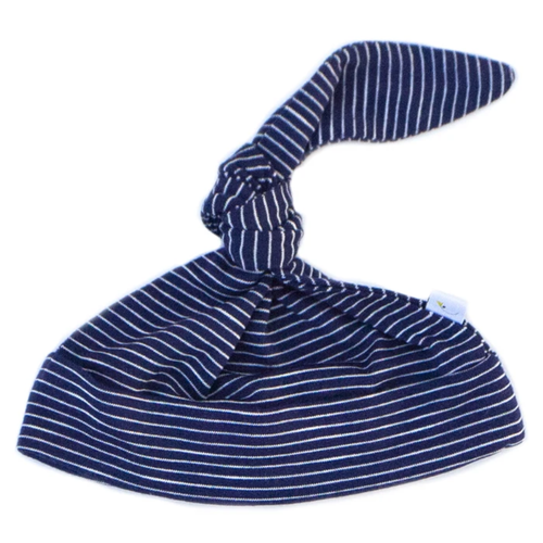 Knotted Hat / Navy Pin Stripe