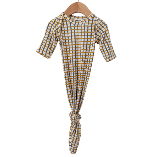 Knotted Gown, Blue Check