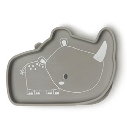 Silicone Suction Snack Plate, Rhino