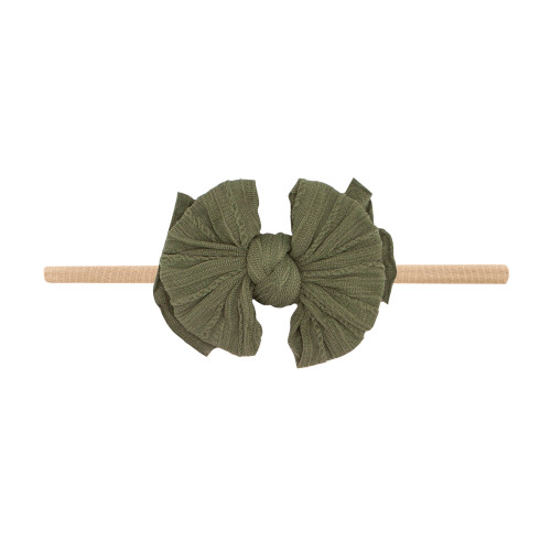 Cable Knit Lil FAB Skinny Bow, Army Green