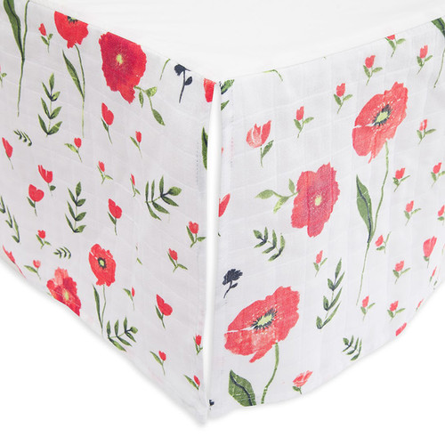 Cotton Crib Skirt, Summer Poppy