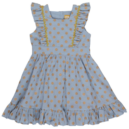 Rock Your Baby Gold Dot Chambray Pinafore Dress