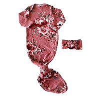 Knotted Gown & Bow Set, Dusty Rose Floral