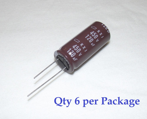120uF 450v Electrolytic Radial Lead Capacitor by NCC (6 Pieces)