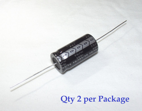 33uF 500v Electrolytic Axial Lead Capacitor (2 Pieces)