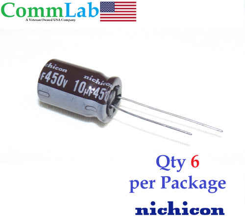 10uF 450v NICHICON Electrolytic Radial Lead Capacitor (6 Pieces)