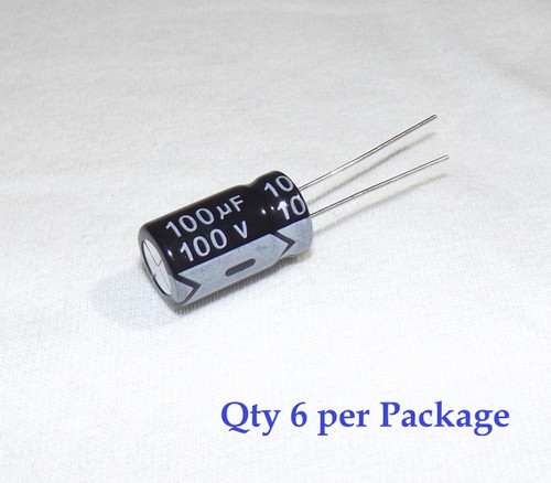 100uF 100v Electrolytic Radial Lead Capacitor (6 Pieces)