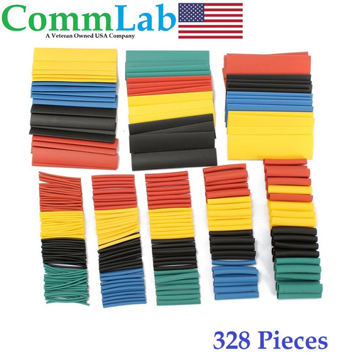 328 Piece Heat Shrink Tubing Kit - 8 Sizes in 5 Assorted Colors