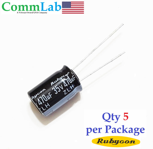 470uF 35v Electrolytic Radial Lead Capacitor Rubycon ZLH Series (5 Pcs)