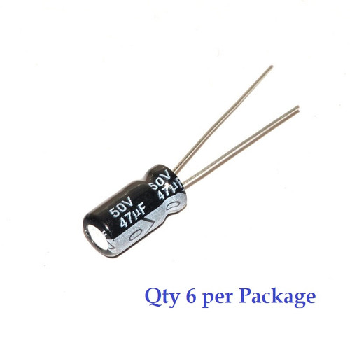 47uF 50v Electrolytic Radial Lead Capacitor (6 Pieces)