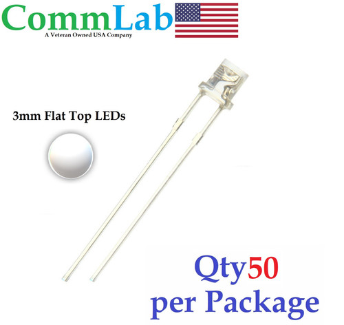 LED White (Clear) 3mm Flat Top Ultra Bright Clear Lens (50 Pieces)