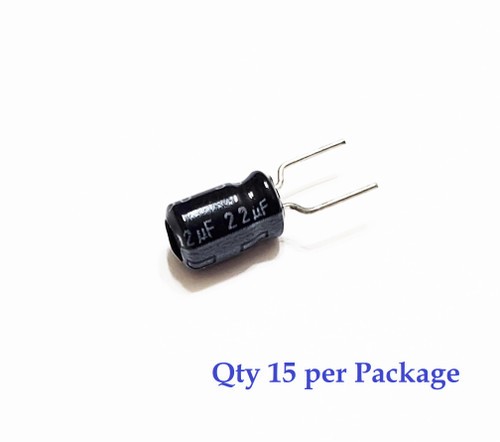 22uF 16v Board Mount Electrolytic Radial Lead Capacitor (15 Pieces)