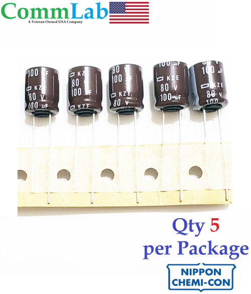 100uF 80v Electrolytic Radial Lead Capacitor by NCC (5 Pieces)