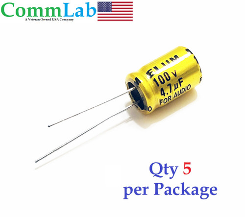 4.7uF 100v Non-Polarized Electrolytic Radial Lead Capacitor (Qty 5) (NP BP)