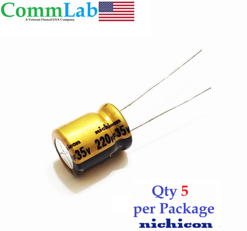 220uF 35v NICHICON Electrolytic Radial Lead Capacitor for Audio (5 Pieces)