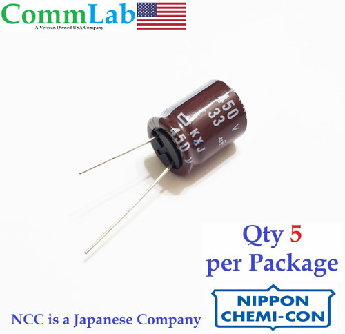 33uF 450v NCC Electrolytic Radial Lead Capacitor (5 Pieces)