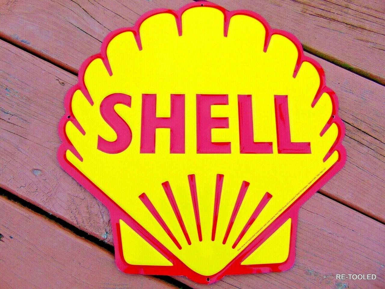 Antique Vintage Old Style Shell Motor Oil Gasoline Sign