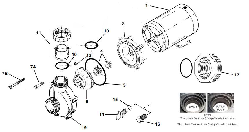 Balboa Ultrajet Ultima Pump Parts List