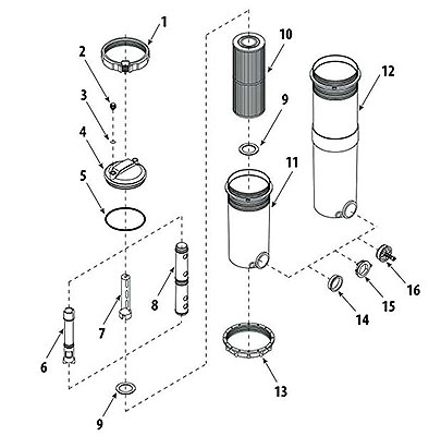 Waterway top loading filter parts