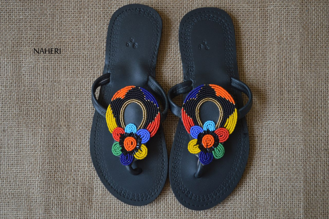 1b3d49787 African beaded handmade leather sandals - NIWA